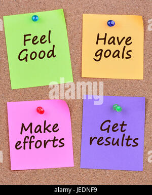 Feel good Have goals Make efforts Get results on colorful notes - Stock Photo