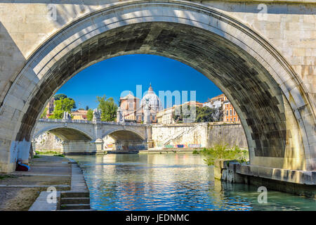 View of the Vatican with bridges over the Tiber river, Rome, Italy - Stock Photo