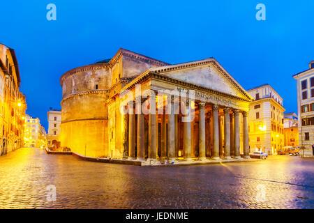 Piazza della Rotonda and Pantheon in the Morning, Rome, Italy - Stock Photo