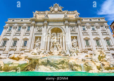 The Trevi Fountain ,Fontana di Trevi, is a fountain in the Trevi rione in Rome, Italy. Standing 25.9 meters high - Stock Photo
