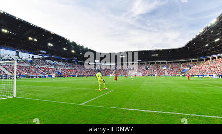 TYCHY, POLAND - JUNE 21, 2017: UEFA European Under-21 Championship  match group C between Czech Republic - Italy - Stock Photo