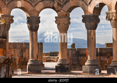 Ruins of the Temple of Zvartnots with Mt Ararat in the background, Armenia. - Stock Photo