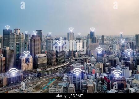 Wifi icon and Osaka city with wireless network connection. Osaka smart city and wireless communication network, - Stock Photo
