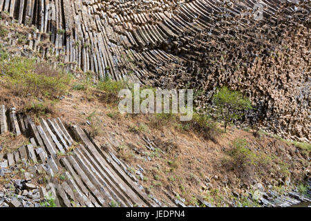Basalt rock formations known as Symphony of Stones in Armenia. - Stock Photo