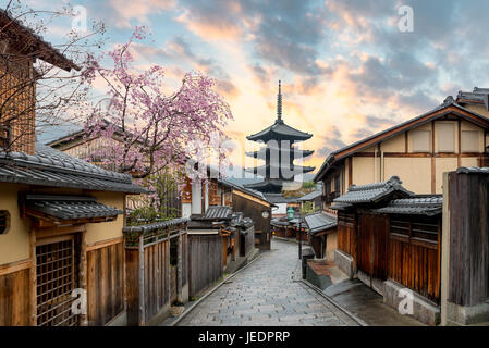 Yasaka Pagoda and Sannen Zaka Street with cherry blossom in the Morning, Kyoto, Japan - Stock Photo