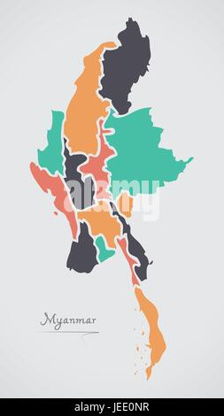 Myanmar Map with states and modern round shapes - Stock Photo