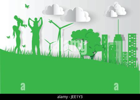 Green background happy family having fun playing in the field - Stock Photo