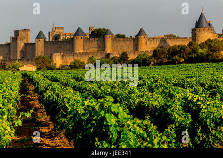 View of Carcassonne. Fortified town in the Aude department. Region of Occitanie. France. - Stock Photo