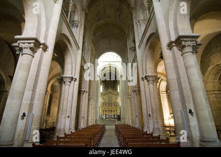 Interior view of the Sé Velha cathedral, Coimbra, Portugal, - Stock Photo