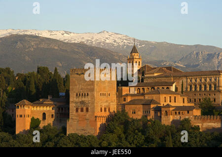 Spain, Andalusia, Granada, Alhambra palace, Sierra Nevada in the background, - Stock Photo