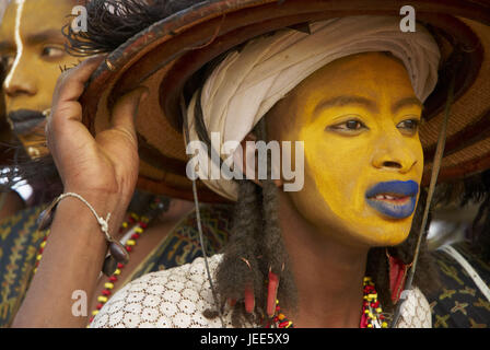 Africa, Niger, men on the Gerewol festival, close up, - Stock Photo
