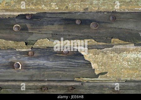 wooden wall, old, weather-beaten, nails, close up, - Stock Photo
