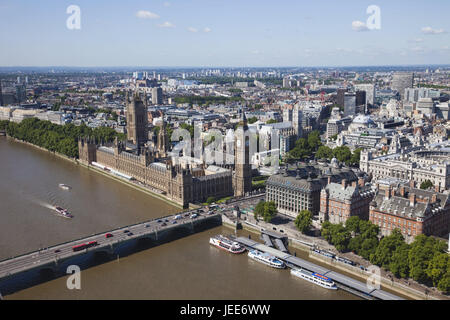 England, London, Westminster, Palace of Westminster, Big Ben, town view, aerial shots, the Thames, town, parliament, - Stock Photo