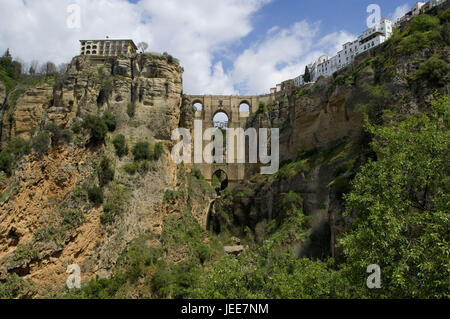 Bridge, Puente Nuevo, gulch, el Tajo, Ronda, Andalusia, Spain, - Stock Photo