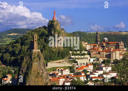 France, Le Puy-en-Velay, town view, churches, statue, Europe, destination, place of interest, landmark, culture, - Stock Photo