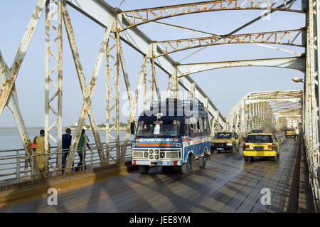 Traffic, taxis, bus, pedestrian, Pont Faidherbe, river, Saint-Louis, Senegal, - Stock Photo