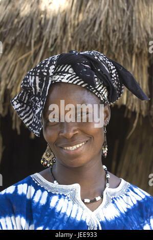 Portrait, woman, headscarf, smile, steelworks, Saloum delta, Senegal, - Stock Photo