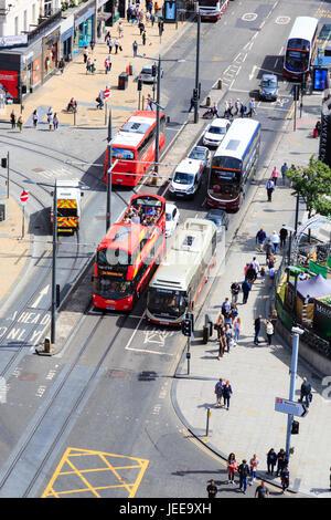 Busy bus traffic on Princes Street, Edinburgh, Scotland. - Stock Photo