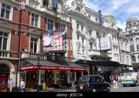 Front view of The Apollo and Lyric Theatres on Shaftesbury Avenue in London - Stock Photo