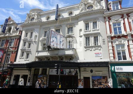 Front view of The Apollo Theatre on Shaftesbury Avenue in London - Stock Photo