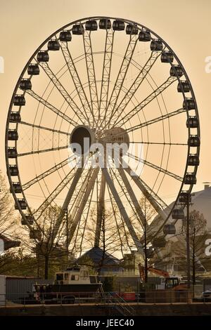 The glow from a spring sunrise shows off Centennial Wheel, the Ferris wheel at Chicago's Navy Pier. Chicago, Illinois, - Stock Photo