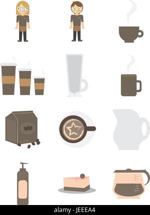 Vector icons of waiter and waitress - Stock Photo