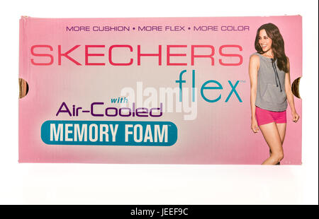 Winneconne, WI -22 June 2017: A box of Skechers flex shoes on an isolated background - Stock Photo