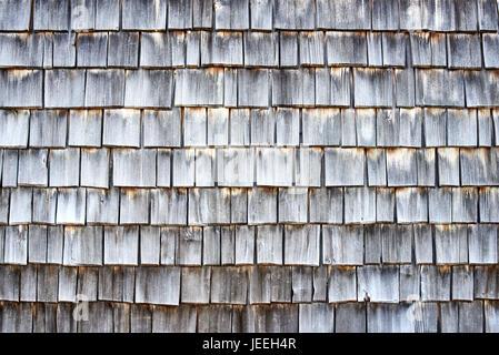 Weathered wooden shingles background - Stock Photo