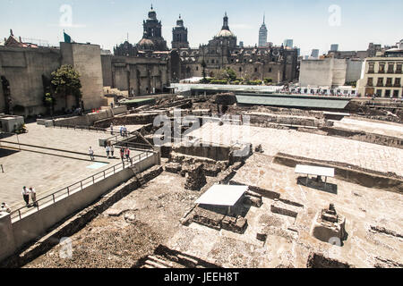 Templo Mayor, Aztec ruins in Mexico City, Mexico - Stock Photo