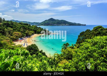 Gorgeous Laem Sing Beach at morning Taken from high point, Phuket, Thailand - Stock Photo