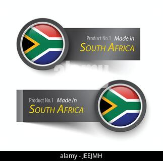 Flag icon and label with text made in South Africa . - Stock Photo