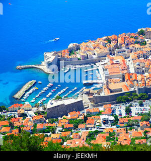 Panoramic view of old town of Dubrovnik, Croatia - Stock Photo
