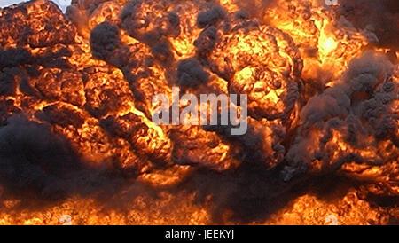 Cruse Missile Attack, fireball, massive explosion, tomahawk missile strike - Stock Photo