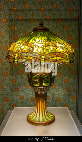 Close up of Tiffany stained glass lamp, called Hanging Head Dragonfly, Boston Museum of Fine Arts, Massachusetts, - Stock Photo