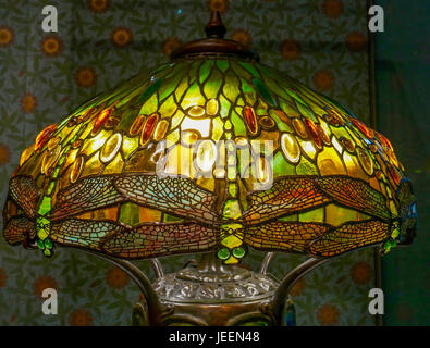 Close up detail of Tiffany stained glass lamp, called Hanging Head Dragonfly, Boston Museum of Fine Arts, Massachusetts, - Stock Photo