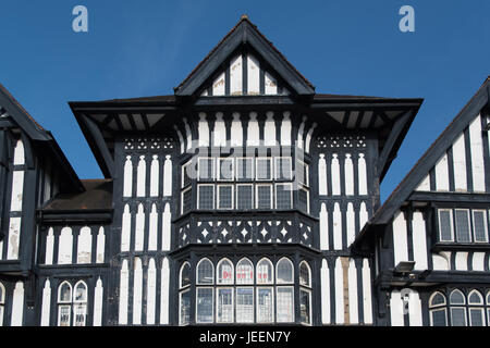 Mock Tudor timber framed building known as the Victoria Centre in Chesterfield Town Centre - Stock Photo