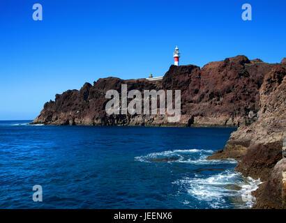 Lighthouse on Punta de Teno, Island Tenerife, Canary Islands, Spain. - Stock Photo