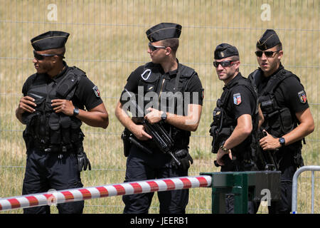 PARIS, FRANCE - JUN 23, 2017: Armed National Gendarmerie on guard at the Paris Air Show - Stock Photo