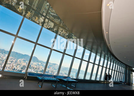 Horizontal view of the Sky100 observation deck at the International Commerce Centre in Hong Kong, China. - Stock Photo