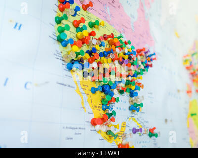 Many colourful pins in a wall map of america the map is hanging on many colourful pins in a wall map of america the map is hanging on the gumiabroncs Images