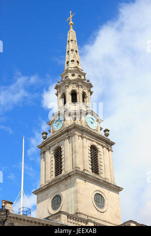 The Spire of St Martin-in-the-Fields Church in London, England. - Stock Photo