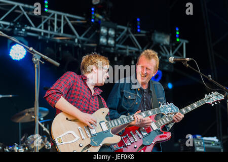 Dundrennan Scotland, UK - July 26, 2014: Big Country performs on the Summerisle stage at the Wickerman Festival - Stock Photo
