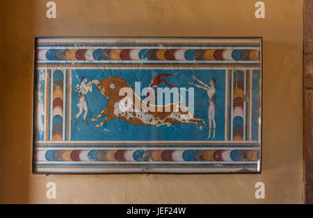 Bull-leaping fresco, Palace of Knossos, ancient city of Knossos, Heraklion, Crete, Greece - Stock Photo