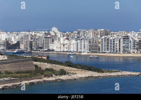 Manoel Island and panorama of Sliema, view from Valletta, Malta - Stock Photo
