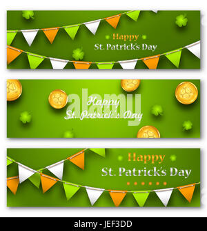 Illustration Set Banners with Bunting Hanging Pennants, Golden Coins, Clovers for St. Patricks Day - - Stock Photo