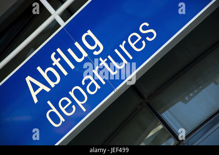 Sign at the airport, takeoff, Schild am Flughafen, Abflug - Stock Photo