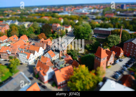 The city of Luneburg, aerial photo, Lower Saxony, the Federal Republic of Germany, Die Stadt Lueneburg, Luftaufnahme, - Stock Photo