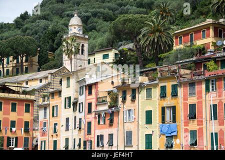 Portofino, a pretty town on the coast of the Mediterranean Sea, in Liguria, Italy., eine hübsche Stadt an der Küste - Stock Photo