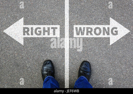 Right wrong business concept businessman goals success solution decision decide choice - Stock Photo