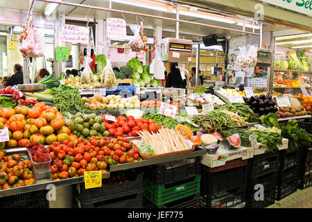 Valencia, Spain - April 13, 2013: Rich choice of fresh vegetables on the Central Market (Mercado Central). - Stock Photo